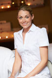 Portrait Of Female Masseuse At Health Spa. Smiling To Camera Stock Photo