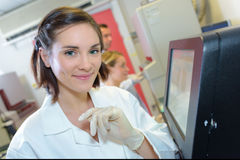 Portrait female medical worker. Portrait of female medical worker stock photography