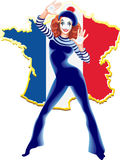 Portrait of the female MIM comedian, on map of France. Vector illustration Female mime in red head and with white face very loudly shouting and looking aside on Vector Illustration