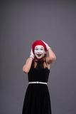 Portrait of female mime with white funny face Stock Photography