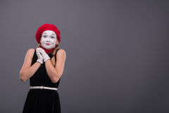 Portrait of female mime with white funny face Royalty Free Stock Photography