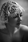 Portrait Of A Female Model In Lace Hat Royalty Free Stock Image