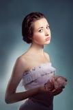Portrait of  female model on white background Royalty Free Stock Image