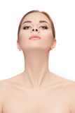Portrait of female neck on white background closeup. girl with c Stock Photo