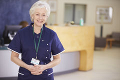 Portrait Of Female Nurse In Hospital Reception Stock Photo
