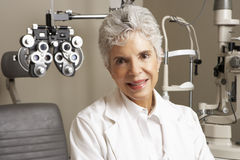 Portrait Of Female Optician In Surgery Royalty Free Stock Photos