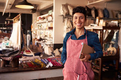 Portrait Of Female Owner Of Gift Store With Digital Tablet Stock Photography
