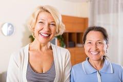 Portrait of female pensioners indoor Stock Photos