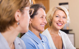 Portrait of female pensioners indoor Royalty Free Stock Photo