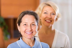 Portrait of female pensioners indoor Royalty Free Stock Images