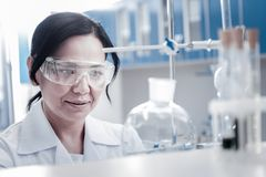 Portrait of female professional working in laboratory. Monitoring the process. Mature brunette lady wearing safety glasses looking at a laboratory glassware royalty free stock images