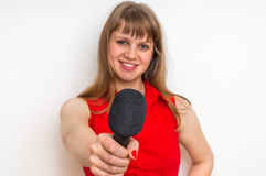 Portrait of female reporter with black microphone. Journalism and broadcasting concept Royalty Free Stock Photos