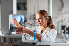 Portrait of a female researcher doing research in a lab Royalty Free Stock Image