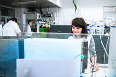 Portrait of a female researcher doing research in a lab Stock Image