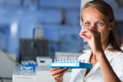 Portrait of a female researcher doing research in a lab Stock Photo