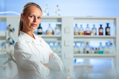 Portrait of a female researcher doing research in a lab Stock Images