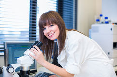 Portrait of a female researcher in a lab Stock Photo