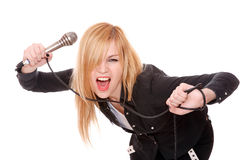 Portrait of female rock singer Stock Image