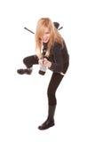 Portrait of female rock singer Royalty Free Stock Image