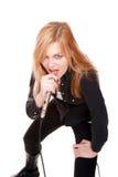 Portrait of female rock singer Stock Images