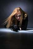 Portrait of female rock singer Royalty Free Stock Photography
