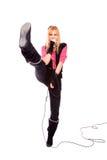 Portrait of female rock singer Stock Photos
