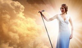 Portrait of female singer Stock Image