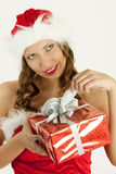 Portrait of female Santa Claus Stock Images