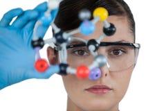 Portrait of female scientist holding molecular model Royalty Free Stock Image