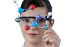 Portrait of female scientist holding molecular model Stock Images
