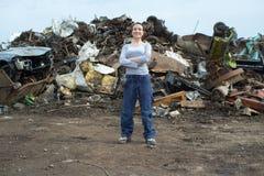 Portrait female scrap yard worker. Portrait of female scrap yard worker Stock Images