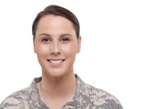 Portrait of a female soldier Stock Photos