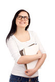 Portrait of female student with books. Looking up. Shot over white background Royalty Free Stock Photo