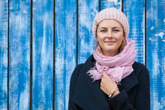 A young woman in a knitted hat stock images