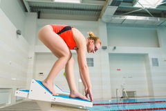 Portrait of a female swimmer, that ready to jump into sport swimming pool. Sporty woman.  Stock Images