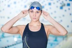 Portrait of a female swimmer Stock Image