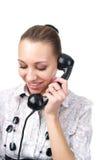 Portrait of female talking phone stock image