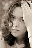 Portrait of female teenager sad Stock Photo