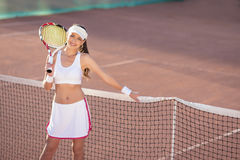 Portrait of Female Tennis Athlete Equipped with Professional Out Stock Image