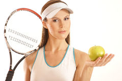 Portrait of a female tennis player Royalty Free Stock Images