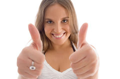 Portrait of female with thumbs up Stock Photography