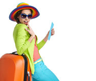 Portrait of female tourist stock photos