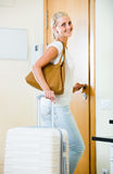 Portrait of female traveller going at holiday trip Royalty Free Stock Image