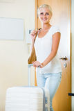 Portrait of female traveller going at holiday trip Stock Photos