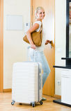 Portrait of female traveller going at holiday trip Stock Image