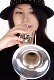 Portrait of a Female Trumpet Player Stock Photo