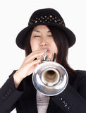 Portrait of a Female Trumpet Player Stock Photography