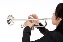 Portrait of a Female Trumpet Player. Isolated on White Stock Images
