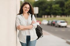 Portrait Of Female University Student Outdoors On Campus stock photo