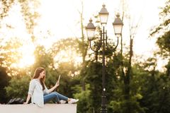 Portrait Of Female University Student Outdoors On Campus stock photography